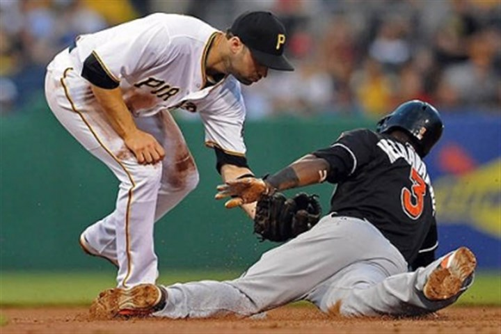 Neil Walker and Adeiny Hechavarria The Pirates' Neil Walker tags out the Marlins' Adeiny Hechavarria on a stolen base attempt in the second inning Wednesday night at PNC Park.