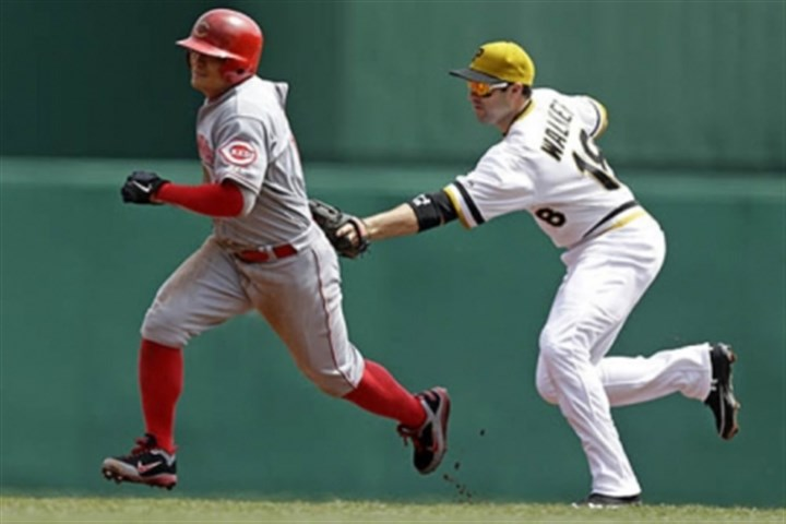 Neil Walker and Shin-Soo Choo Pirates second baseman Neil Walker tags the Cincinnati Reds' Shin-Soo Choo to end a rundown between second and third in the second inning.