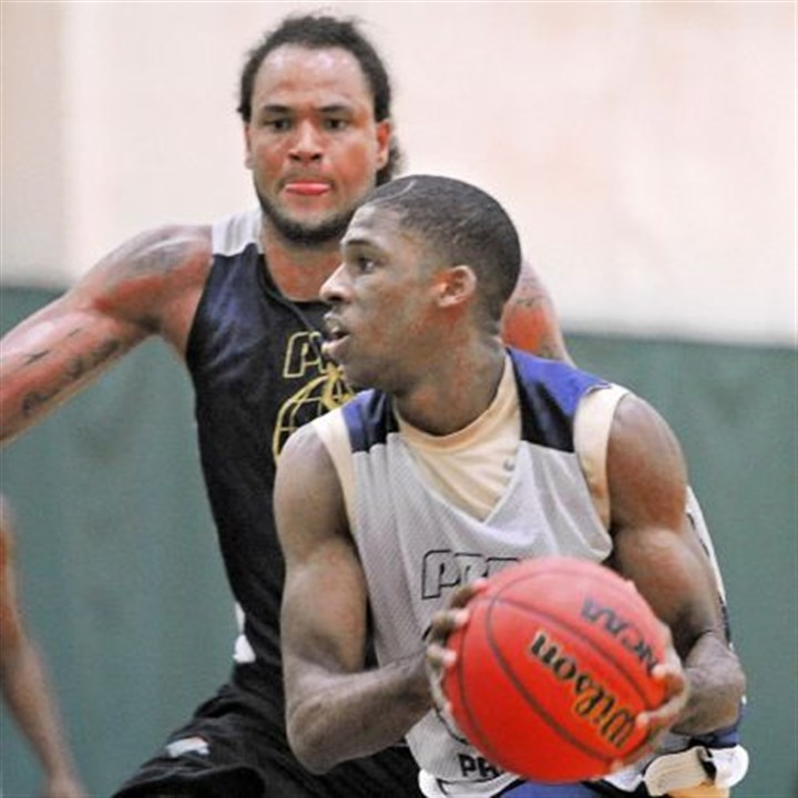 newkirk Josh Newkirk, an incoming freshman at Pitt, tries to get past former Pitt star Chevy Troutman in a Pittsburgh Basketball Club Pro-Am game recently.