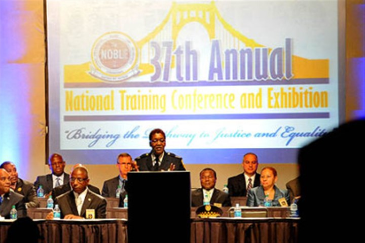 NOBLE Conference Maurita J. Bryant, assistant chief of Pittsburgh police and NOBLE president, speaks at the NOBLE convention opening ceremonies at the David L. Lawrence Convention Center on Monday morning.