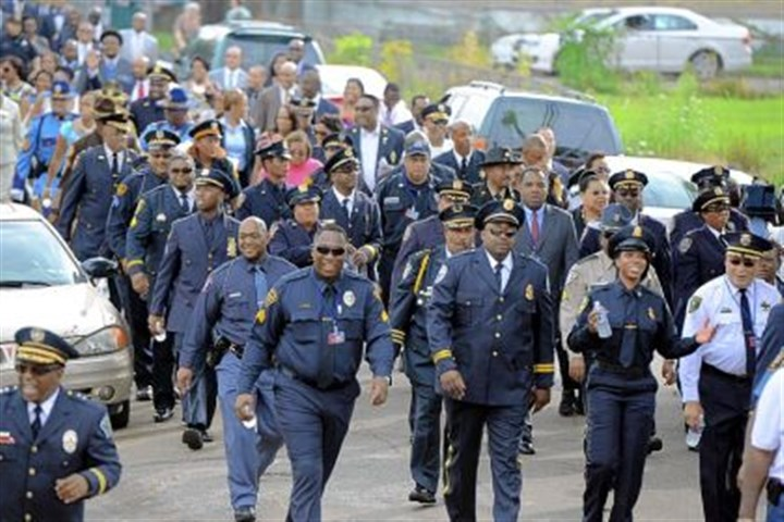 noble march Police officers from across the country participate in a march Wednesday in Homewood. The National Organization of Black Law Enforcement Executives wrapped up its national conference in Pittsburgh this week.
