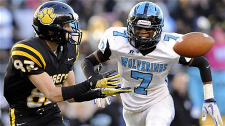 North Allegheny's Gregg Garrity North Allegheny's Gregg Garrity pulls in a pass for a touchdown as he's defended by Woodland Hills' Daechaud Ausbrooks Friday in the WPIAL Class AAAA championship at Heinz Field.