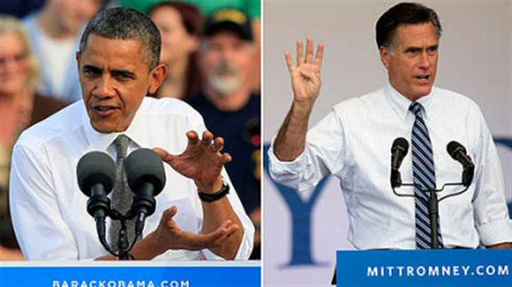 Obama and Romney At left, President Barack Obama speaks during a campaign rally in Dayton, Ohio. At right, Republican presidential candidate Mitt Romney speaks during a campaign rally in Las Vegas.