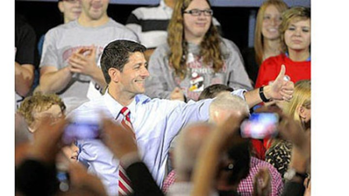 Paul Ryan Republican vice presidential candidate Paul Ryan gives the audience a thumbs up Saturday before a town hall meeting at Youngstown State University.