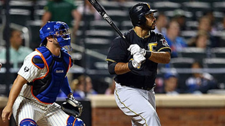 Pedro Alvarez Pedro Alvarez watches his three-run homer clear the fence in the first inning Tuesday night in New York. It gave Alvarez 30 home runs this season.