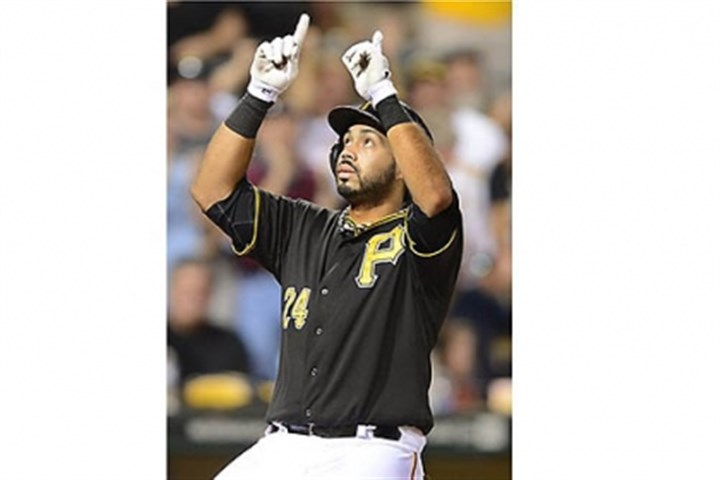 Pedro Alvarez Pirates third baseman Pedro Alvarez celebrates after hitting solo home run against Athletics pitcher Dan Straily during the second inning.
