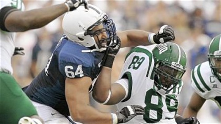 Penn State Penn State guard John Urschel (64) battles with Ohio defensive lineman Carl Jones (89) in the Nittany Lions' season opener.