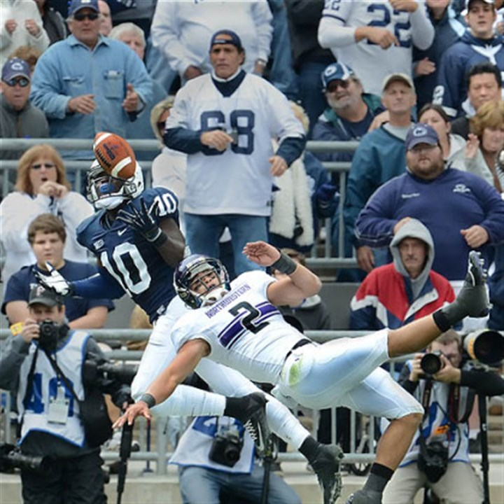Penn State safety Malcolm Willis Penn State safety Malcolm Willis breaks up a pass intended for Northwestern's Kain Colter in this afternoon's game at State College.