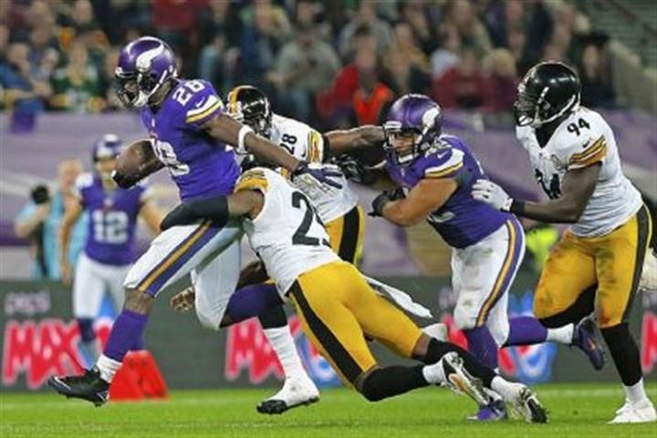 peterson Vikings running back Adrian Peterson ran for 140 yards against the Steelers Sunday in London.