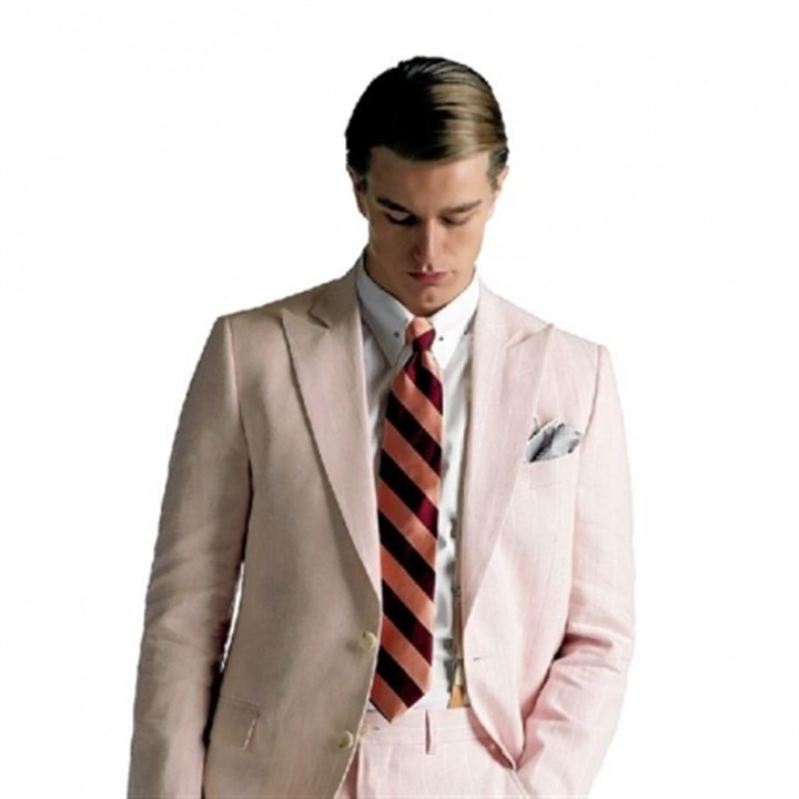 Pink linen jacket and pants Pink linen jacket, $698, and pants, $298, at Brooks Brothers.