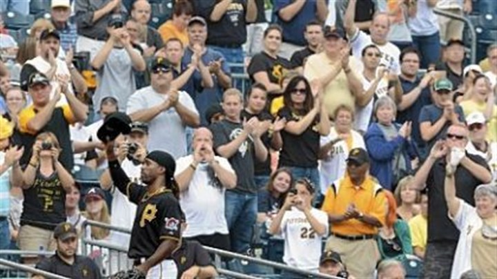 Pirates fans Pirates fans give center fielder Andrew McCutchen a standing ovation as he makes his way to the dugout during Wednesday's loss to the Braves. n Visit post-gazette.com for video of fan reaction to the Pirates season.