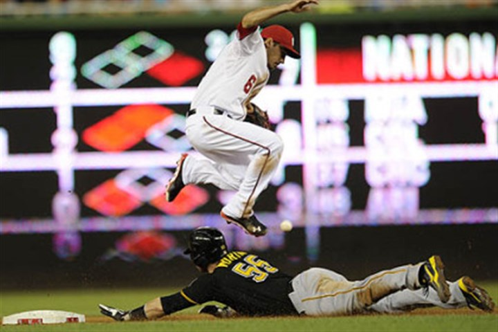 Pirates' Russell Martin Russell Martin steals second as the ball gets by Washington Nationals second baseman Anthony Rendon during the eighth inning.