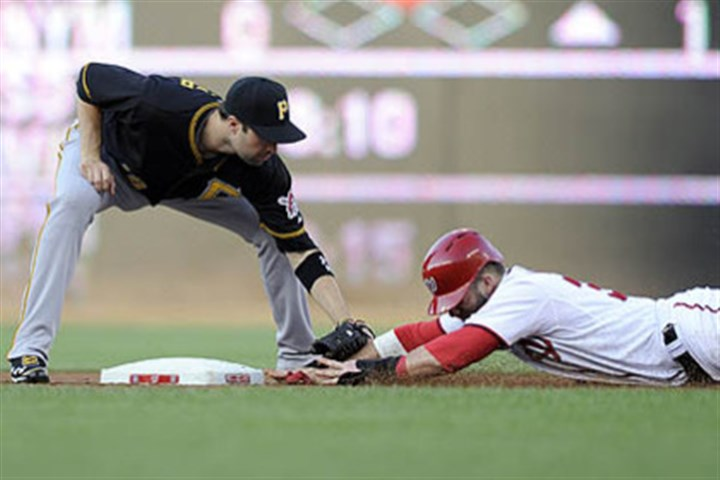 Pirates second baseman Neil Walker Pirates second baseman Neil Walker tags out Washington Nationals' Bryce Harper, as Harper tried to steal second base during the first inning.