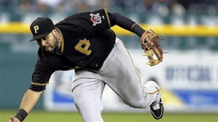 "Pedro Alvarez Pirates logo Pirates third baseman Pedro Alvarez's jersey shows the pirate on the left sleeve the team is phasing out. The ""P"" on his chest will be the team's first primary logo since 1936 not to feature a buccaneer."