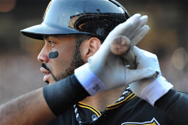 Pirates third baseman Pedro Alvarez Pirates third baseman Pedro Alvarez on deck against the St. Louis Cardinals during game three of the National League Division Series at PNC Park.