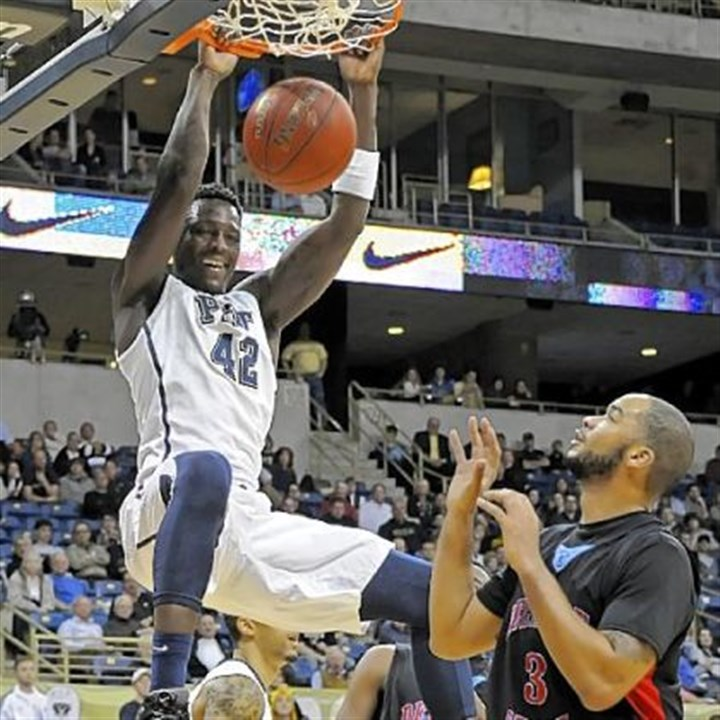 Pitt Pitt's Talib Zanna had a game-high 20 points in the Panthers' rout of Delaware State Wednesday at Petersen Events Center.