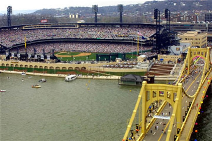 PNC Park Fans fill PNC Park in its inaugural season for Pirates Opening Day against the Cincinnati Reds on April 9, 2001.