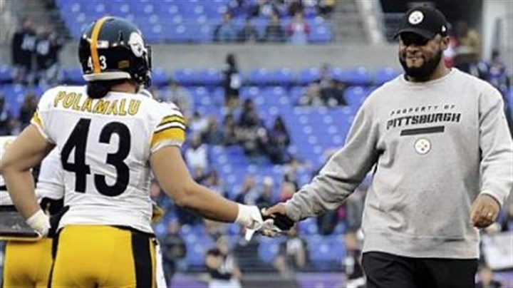 polamalu and tomlin Steelers head coach Mike Tomlin greets Troy Polamalu during warmups before the game against the Ravens last Sunday in Baltimore.