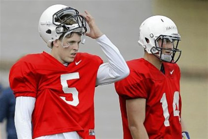 psu2 Quarterbacks Tyler Ferguson, left, and Christian Hackenberg look on during Thursday's practice. Nittany Lions' coach Bill O'Brien said Ferguson has an early lead in the competition for the starting quarterback job.