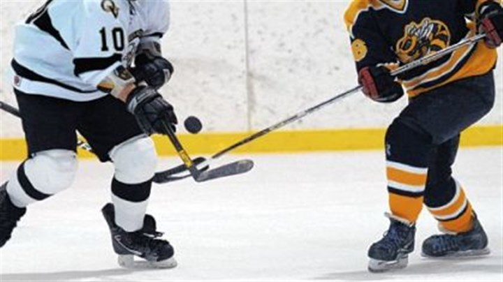 Quaker Valley Quaker Valley's Ryan Dickson, left, battles Freeport's Justin Drzemiecki for possession of the puck during a game earlier this season.