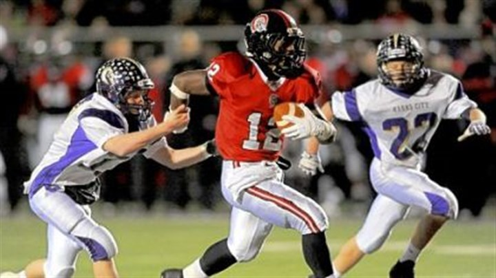 Quips Aliquippa's Terry Swanson was off to the races during the Quips' PIAA quarterfinal victory against Karns City.