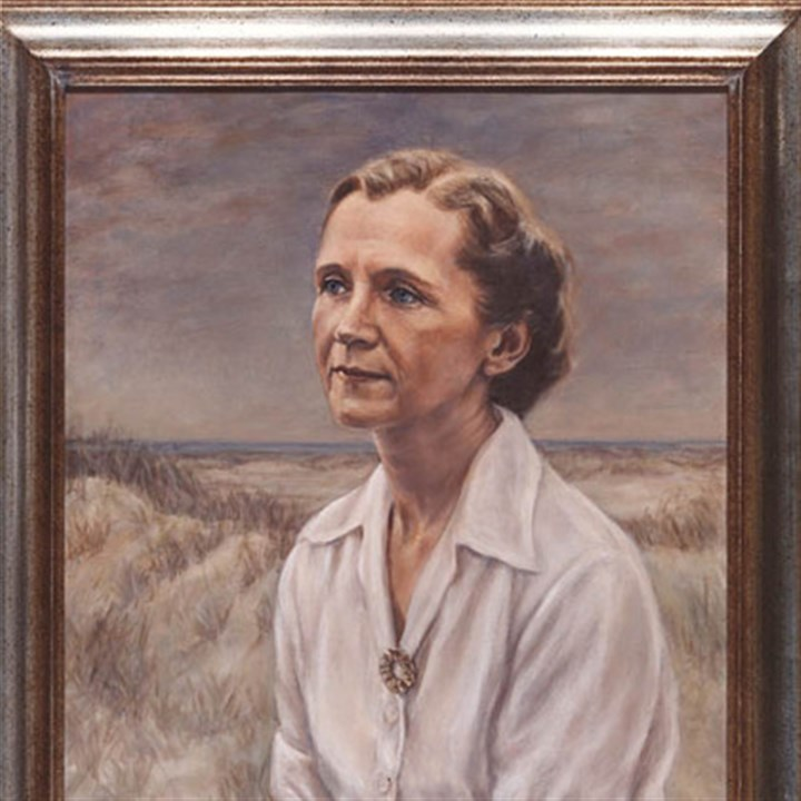 Rachel Carson paint This oil portrait of Rachel Carson was painted by Pittsburgh artist Minnette Bickel.