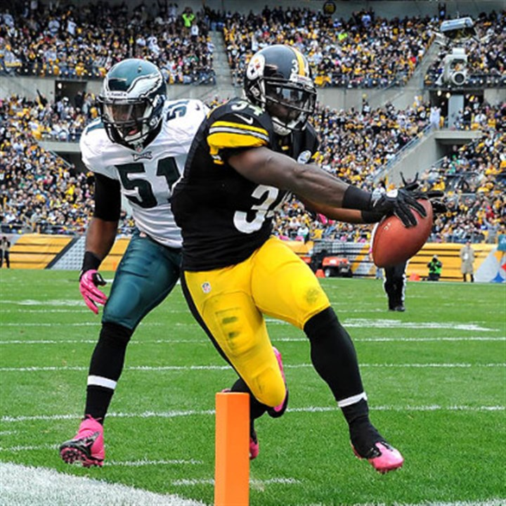 Rashard Mendenhall The Steelers' Rashard Mendenhall scores against the Eagles in the second quarter.