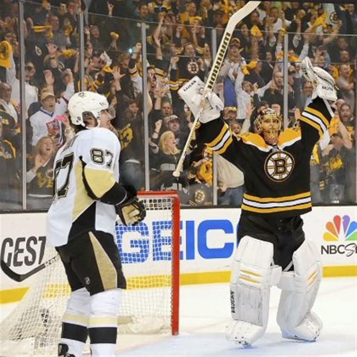 rask Boston goalie Tuukka Rask celebrates after shutting the Penguins down for the final time in June.