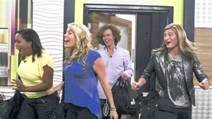 "Reality Check: 'Big Brother' New housemates Jodi Rollins, left, and Ashley Iocco, a Franklin Regional grad, arrive at the ""Big Brother"" house. Behind them are Frank Eudy and Wil Heuser."