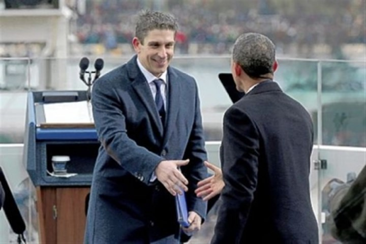 Richard Blanco President Barack Obama greets poet Richard Blanco, left, on Monday on the west front of the Capitol in Washington after Mr. Blanco's reading at the president's ceremonial swearing-in ceremony.