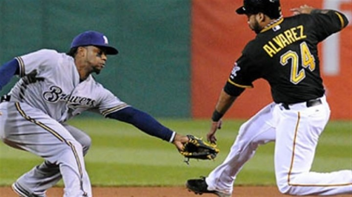 Rickie Weeks and Pedro Alvarez Brewers second baseman Rickie Weeks, left, misses the tag on the Pirates' Pedro Alvarez in the 10th inning.