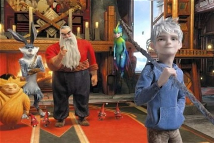 "'Rise of the Guardians' Sandman, left, Bunnymund (voice of Hugh Jackman), North (Alec Baldwin) and Tooth (Isla Fisher) need the help of Jack Frost (Chris Pine) to defeat a villain in ""Rise of the Guardians."""