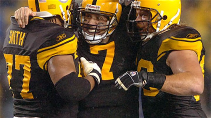 Roethlisberger, Faneca and Marvell Smith Steeler quarterback Ben Roethlisberger celebrates with guard Alan Faneca and tackle Marvell Smith after throwing his second of five touchdown in the first half against the Ravens.(vs. Ravens 11/05/07)