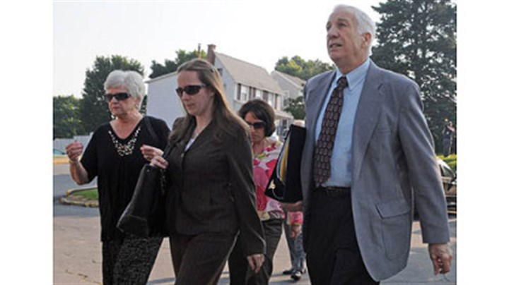 sandusky family arrives Jerry Sandusky arrives at the Centre County Courthouse with his wife, Dorothy (left) for the closing arguments in his trial today.