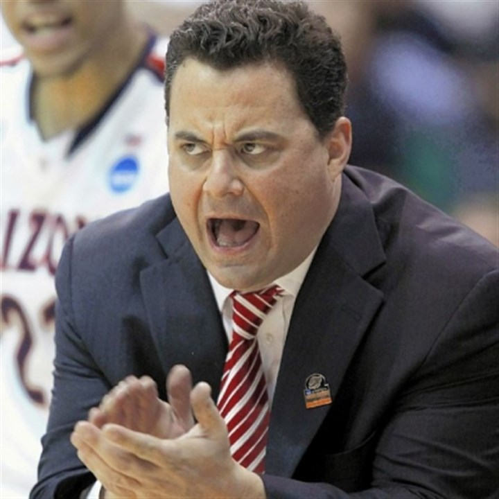SeanMiller Arizona coach Sean Miller, a former Pitt and Blackhawk High School point guard, urges his players Saturday in the second half against Harvard.