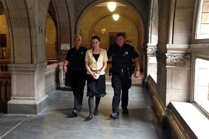 Sharon Flanagan Sharon Flanagan is escorted into court this morning.