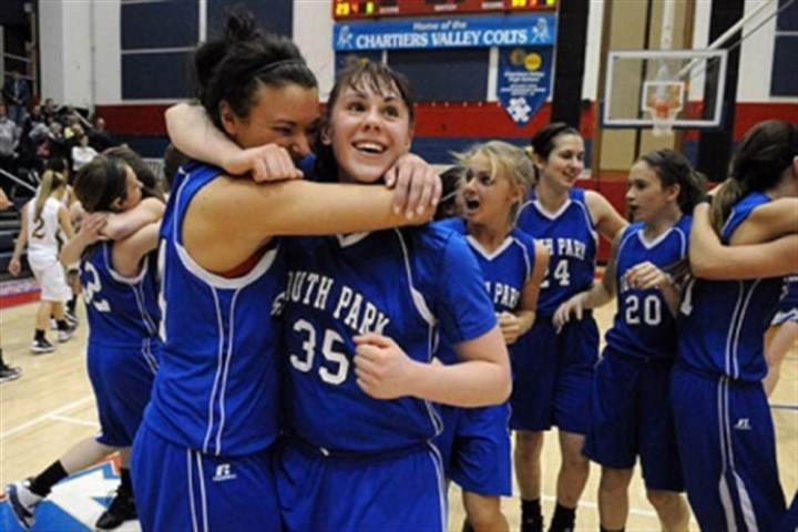 SouthPark Breanna Raymond, left, and Allison McGrath of South Park celebrate after defeating Blackhawk, 63-59, and earning a spot in the PIAA Class AAA championship.