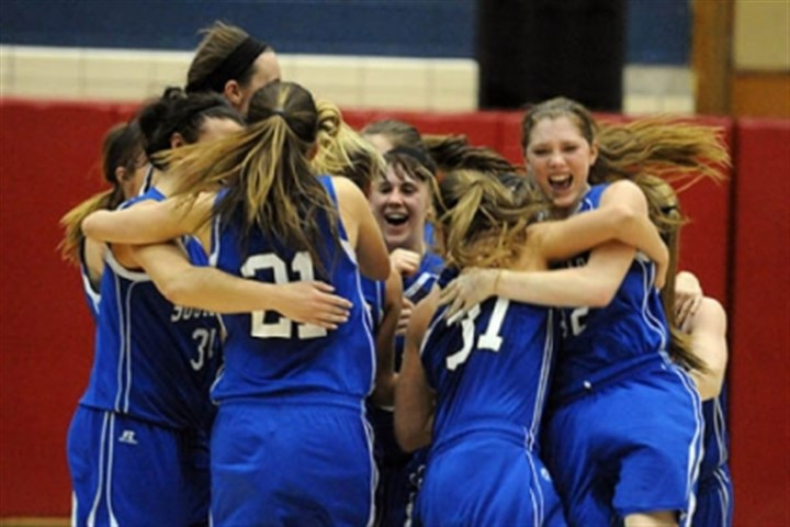 SouthPark1 South Park celebrates after beating Blackhawk, 63-59, in the PIAA Class AAA girls semifinals.