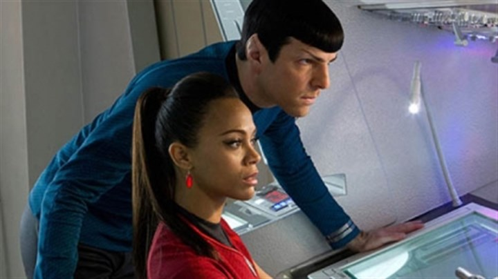 "Star Trek cast Zoe Saldana as Uhura and Zachary Quinto as Spock have a close relationship in ""Star Trek Into Darkness."""