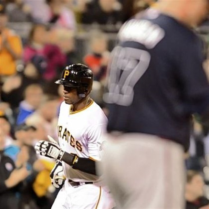 starling Starling Marte rounds third after hitting a solo shot in the fifth inning Monday at PNC Park.