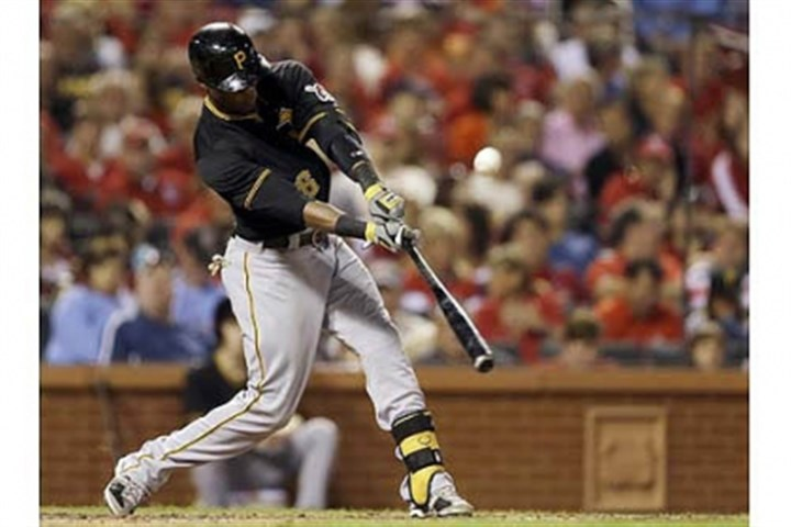 Starling Marte The Pirates' Starling Marte hits a two-run double during the fourth inning.