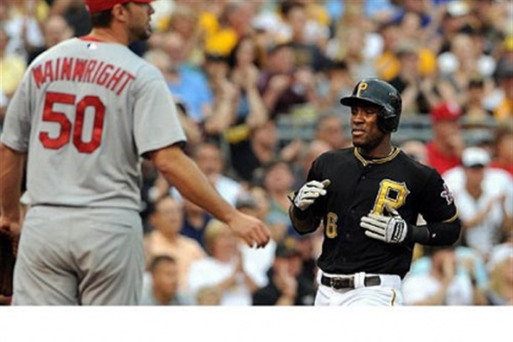 Starling Marte and Adam Wainwright Starling Marte scores in front of the Cardinals' Adam Wainwright in the first inning Wednesday night at PNC Park.