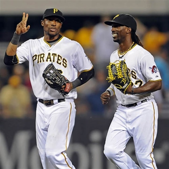 Starling Marte and Andrew McCutchen The Pirates' Starling Marte and Andrew McCutchen run off the field after taking both games of a double header against the Cardinals at PNC Park Tuesday night.