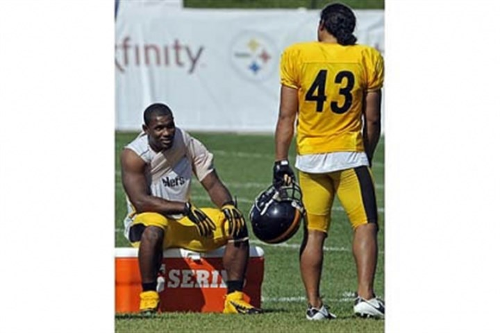 Steelers-2 The Steelers safety Troy Polamalu talks with injured running back Isaac Redman at training camp in Latrobe.