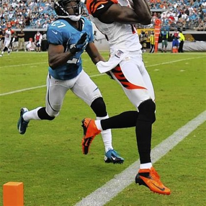 Steelers Cincinnati Bengals wide receiver A.J. Green, catching an 18-yard touchdown pass in a game against Jacksonville in Sept. 30, poses a big threat today to the Steelers' playoff hopes.