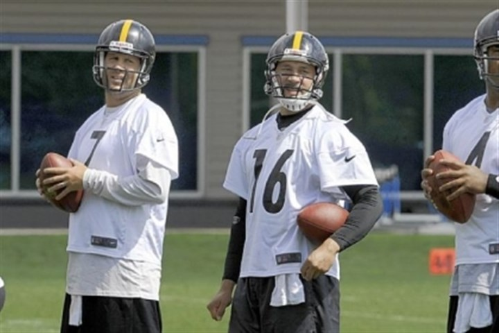 steelers Steelers quarterbacks on June 5, 2012 -- Ben Roethlisberger, Charlie Batch and Byron Leftwich -- work out during OTAs on the South Side.