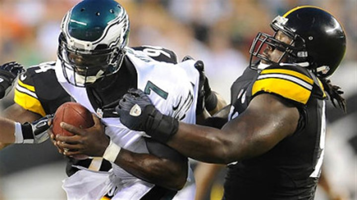 Steve McLendon Steelers nose tackle Steve McLendon sacks Eagles quarterback Michael Vick during a preseason game i Philadelphia last month.