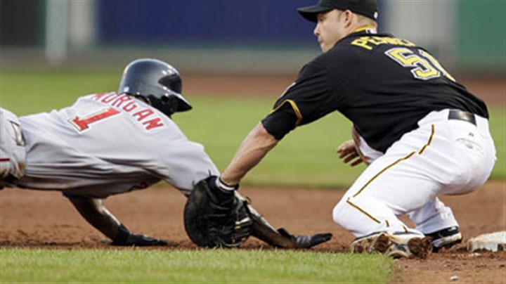 Steve Pearce Pirates first baseman Steve Pearce picks off Nationals outfielder Nyjer Morgan on a throw by Pirates pitcher Ross Ohlendorf ending the third inning.