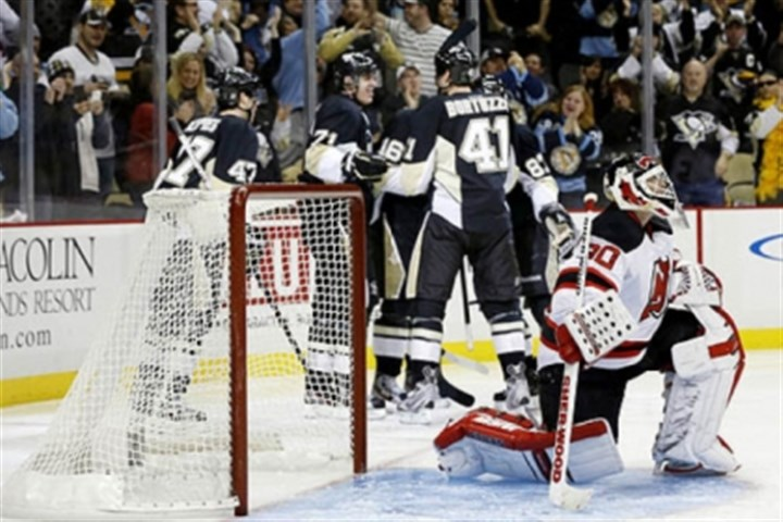 Sutter Celebration ensues after Brandon Sutter was one of several Penguins to score against New Jersey Devils goalie Martin Brodeur in the second period of Saturday's win at Consol Energy Center.