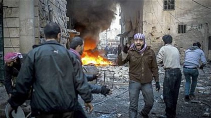 Syria A man shouts after a missile hits a house in Aleppo, Syria, on Thursday.
